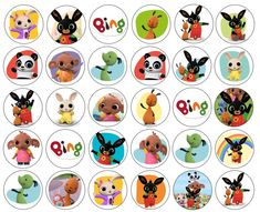 24 or 30 CUPCAKE TOPPERS. They will arrive either as a full sheet or several smaller sheets ready to be cut. Bunny Birthday, Birthday Cup, Birthday Cards, Bing Cake, Troll Cupcakes, Bing Bunny, Festa Pj Masks, Bunny Party, Ballerina Party