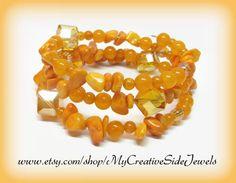 Handmade wrap bracelet with beautiful orange beads.  SHOP: https://www.etsy.com/shop/MyCreativeSideJewels