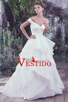2017 nueva llegada de los vestidos de boda del hombro una línea de organza y satén