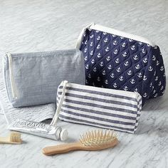 Nautical Cosmetic Bags #westelm - mini striped one for jewelry and medium anchor one for makeup