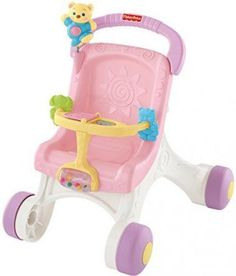 Fisher-Price Brilliant Basics Stroll-Along Walker, Baby Walker Learn Walking Fisher Price, Baby Stella Doll, 1 Year Old Girl, Learning Toys For Toddlers, Kids Toys, Preschool Learning, Push Toys, Toys For 1 Year Old, Thing 1