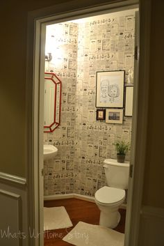 Whats Ur Home Story: Wall paper powder room, newspaper wall paper, wall paper direct , diy powder room makeover Newspaper Wallpaper, Tape Wall, New Bathroom Ideas, Red Mirror, Bathroom Rugs, Bathrooms, Room Goals, White Elephant Gifts, Powder Room