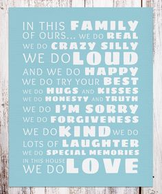 Look what I found on #zulily! BirdRow Blue 'In This Family' Print by BirdRow #zulilyfinds