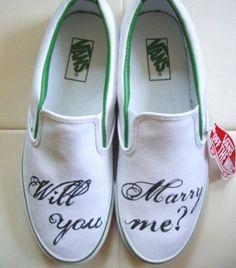 Marry me sneaker Custom Design Shoes, Custom Vans, Wedding Sneakers, Wedding Shoes, Great Hairstyles, Glass Slipper, Shoe Art, Keds, Slip On
