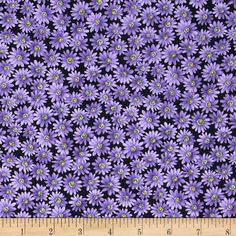 Poppy Panache Daisy Black/Purple from @fabricdotcom  Designed by Ann Lauer of Grizzly Gulch Gallery for Benartex, this cotton print fabric is perfect for quilting, apparel and home decor accents. Colors include black, purple and green.