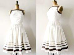 vintage 1950s dress :  latte cream 50s cotton full skirt via Etsy.