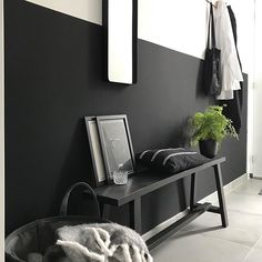 [New] The Best Home Decor Ideas Today (with Pictures) - These are the best home decor ideas today (with pictures). According to home decor. Black Hallway, Black Walls, Half Painted Walls, Ultra Modern Homes, Bench Decor, Paint Colors For Home, Living Room Colors, Home And Deco, Beautiful Interiors