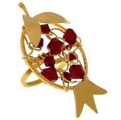 Gold Plated Pomegranate Ring. Handmade 24K gold plated sterling silver ring with swarovski.