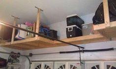 Etagères suspendues en hauteur pour le garage. 19 idées pour gagner de l'espace partout dans la maison