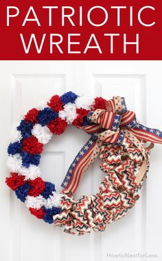 Love this burlap and flower DIY wreath. Perfect for Memorial Day or the 4th of july!!