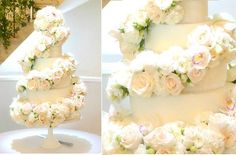 formal wedding cake with floral cascade of orchids and roses by Cherie Kelly