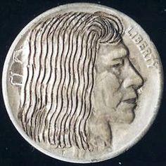 JOHN DORUSA HOBO NICKEL - FEMALE* - 193? BUFFALO NICKEL Hobo Nickel, Buffalo, Classic Style, Coins, Carving, Female, Art, Art Background, Rooms