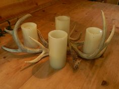 Unlimited multiple arrangement of real ANTLERS for a unique centerpiece candelabra crafting since 1988.