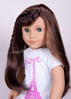 Custom American Girl Doll Marie Grace Hazel Green Eyes Long - Doll hairstyles for grace