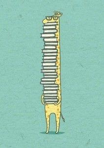 giraffe and books