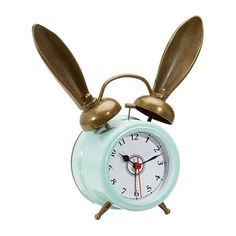 PB Teen The Emily and Meritt Bunny Alarm Clock, White at Pottery Barn... ($59) ❤ liked on Polyvore featuring home, home decor, clocks, filler, battery powered clock, battery clock, rabbit clock, bunny clock and whimsical clocks
