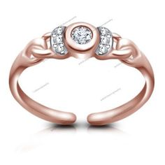 Women's Fashion Jewelry 14K Rose Gold Rd Sim Diamond Wedding Adjustable Toe Ring #br925 #SolitaireRing