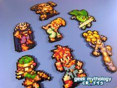 Chrono Trigger Super Nintendo - Perler Bead Sprite Set of 7 Characters, via Etsy.