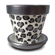 Snow Leopard Animal Print Flower Pot, Gunmetal, Grey, Gray, Silver, Planter - 8-inch on Etsy, $22.00