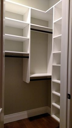 Adjustable shelves for folded clothes, double hang, and medium hanging. Tall top shelf to fill in the high ceilings.
