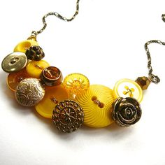 Statement Button Necklace Gold Brass and Yellow by buttonsoupjewelry on etsy Button Necklace, Diy Necklace, Jewelry Necklaces, Gold Necklace, Button Jewellery, Diy Jewellery, Make Your Own Jewelry, Button Crafts, Holiday Sales