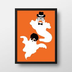 Funny Hipster Halloween Ghost Print  Halloween by BlanchardBits