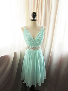 Breatfast at Tiffany's Soft Seafoam Blue Minty Green Jane Austen Alice in Wonderland Flowy Angel Marie Antoinette Vintage Embellished Gown. $148.50, via Etsy.