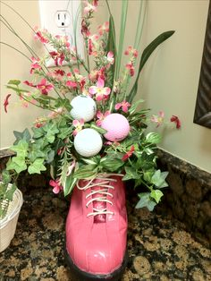Old golf shoe used for flower arrangement