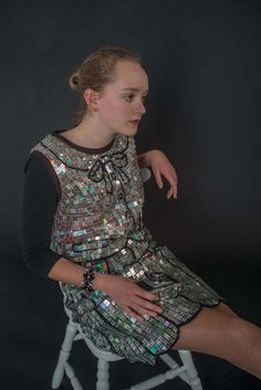Designer Recycled CD Dress, One of a Kind, Wearable Art, Vinyl Record, Silver Shift Dress, Sustainable Fashion by ReplayStudio on Etsy