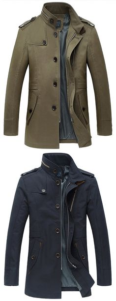 US$56.94(OVER 50%OFF in 11.11)Business Casual Trench Coat Single-breasted Turndown Collar Jacket Coat for Men