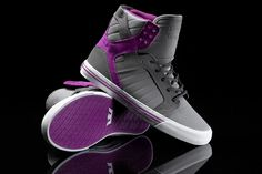 Women's Skytop in grey and dark grey nubuck, purple suede, grey rope laces, padded purple mesh lining, purple vulcanized sole, white foxing with purple pinstripes.