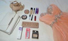 Prom essentials  #prom #essentials #naked3 #urbandecay #makeup #dress #shoes #nails #lashes #bag #clutch #pink #nakedpalette #beauty #fashion