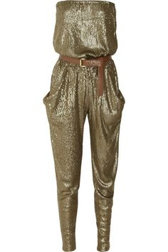 Have one to sell? Sell it yourself  MICHAEL by MICHAEL KORS Belted Gathered Sequin Strapless Jumpsuit Size XS