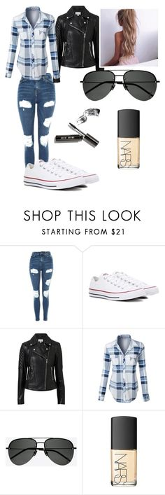 """Untitled #49"" by kelsey-turk on Polyvore featuring Topshop, Converse, Witchery, LE3NO, Yves Saint Laurent, NARS Cosmetics and Bobbi Brown Cosmetics"