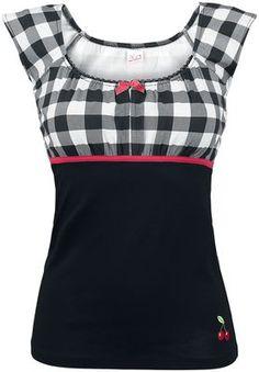 """""""Camiseta Tartan Evie"""" de Pussy Deluxe, adorable diseño de a cuadros negros y blancos en la zona del pecho, negro mas abajo y una linea roja que separa las 2 zonas."""