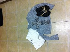Cute white shorts with a leopard cross and my favorite shoes
