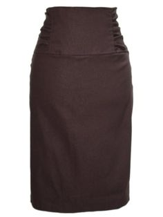 Gathered High Waist Stretch Pencil Skirt In Your Choice of Colors Medium Espresso >>> You can get additional details at the image link.