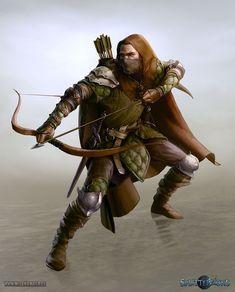 melanie-maier: Ranger for pen&paper RPG Splittermond www. Fantasy Male, Fantasy Warrior, Fantasy Rpg, Medieval Fantasy, Ranger Rpg, Elf Ranger, Dnd Characters, Fantasy Characters, Paladin