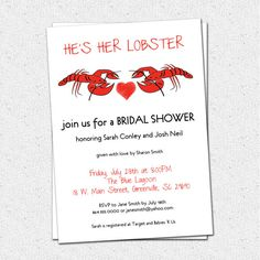 Bridal Couples Shower, Wedding Invitations Printable, Lobster Couple, Boil, Bake, Friends TV show Fans, Ross and Rachel,