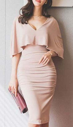 Ruched Bodycon Cape Dress ==