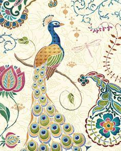 Peacock Fantasy II Kunst van Daphne Brissonnet bij AllPosters.nl