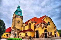 The Gospel of Grace Church is a typical German castle architecture with a clock tower and a auditorium. Qingdao, Good Old, Places To Travel, Colonial, German, Castle, Around The Worlds, China, Auditorium