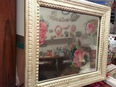 Shabby Chic Vintage Wood Frame and mirror. See more on my Facebook page: Sofi's little Room