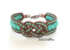 Beaded Josephine Knot Bracelet Leather Beaded Cuff Turquoise