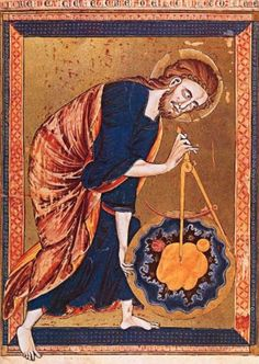 God the Father Measures the World with a Compass, c. 1220, Miniature from a Moralized Bible. Vienna, Osterreichische Nationalbibliothek / www.arthistorybabes.com