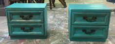 """Do you need some nightstands? I painted these ones a teal green color. What do you think?  The dimensions are 24"""" L, 16"""" W, 22"""" H. Asking price $225. Interested? Call/Txt me 281-917-0332.  https://www.pinterest.com/shabbychictexas/these-pins-are-for-sale/"""