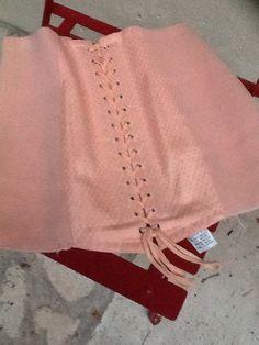 French vintage lace up 1950's boned corset with eyelets. Retro lingerie. Steph35 size 68 RozDor. Elastic stretch panel girdle. by MattyBooFrance on Etsy