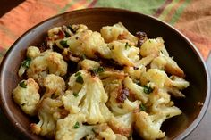 ROASTED CAULIFLOWER RECIPE- use Olive Oil on Phase 1 to 3, www.tlcforwellbeing.com
