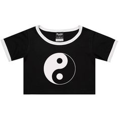 Ying Yang Ringer Tee Crop Top T Shirt Womens Girl Funny Fun Tumblr... (23 CAD) ❤ liked on Polyvore featuring tops, t-shirts, black, sweater vests, sweaters, women's clothing, black crop top, hipster t shirts, black star t shirt and gothic t shirts