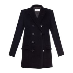 Saint Laurent Military double-breasted pea coat ($2,975) ❤ liked on Polyvore featuring outerwear, coats, jackets, navy, military style pea coat, navy pea coat, double breasted military coat, military coat and black coat